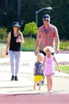 Eric Dane and Rebecca Gayheart at the park with their girls Billie and Georgia