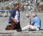 Eric Johnson with daughter Maxwell at the beach in Newport, RI