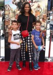 Garcelle Beauvais with boys Jax and Jaid Nilon at At Boxtrolls Premiere