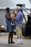 George Lucas and his wife Mellody Hobson with their daughter Everest in St