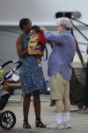 George Lucas and his wife Mellody Hobson with their daughter Everest in St. Barts
