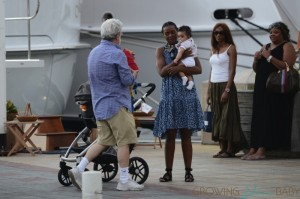 George Lucas and his wife Mellody Hobson with their daughter Everest  stroll in St