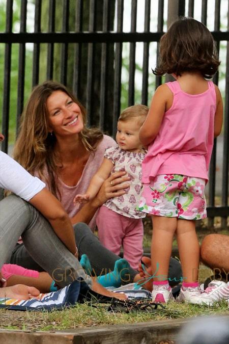 Brazilian supermodel Gisele Bundchen plays in the park with her daughter Vivian Lake Brady, son Benjamin Brady and stepson John Moynahan in Boston, Massachusetts