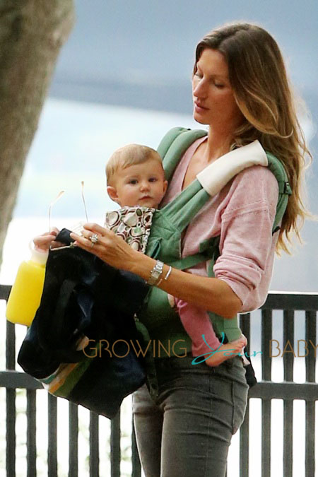 Brazilian supermodel Gisele Bundchen plays in the park with her daughter Vivian Lake Brady, son Benjamin Brady and stepson John Moynahan in Boston, Massachusetts
