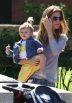 Gisele Bundchen at the park with daughter Vivian Brady