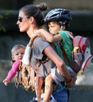 Gisele Bundchen, Vivian, Ben and Tom Brady go for a walk and a scoot in Boston today
