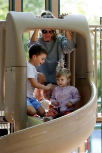 Gisele Bundchen at the park with her kids Benjamin and Vivian Brady