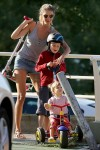 Gisele Bundchen at the park with her kids John and Vivian Brady