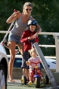 Gisele Bundchen at the park with her kids John and Vivian Brady