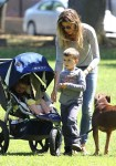 Gisele Bundchen at the park with sons Ben and John