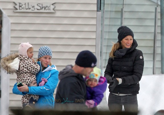 Gisele Bundchen takes her daughter Vivian for ice skating lessons on a cold morning in Boston