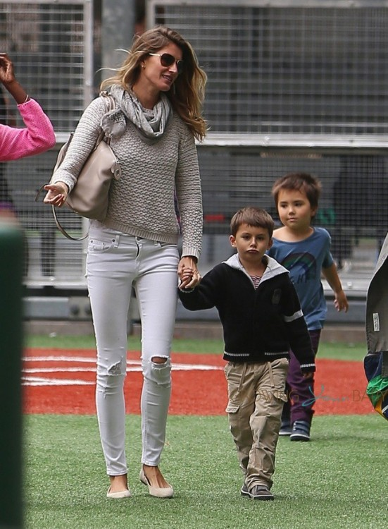 Gisele Bundchen takes stepson John to soccer game