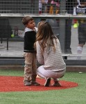 Gisele Bundchen with stepson John at his soccer game