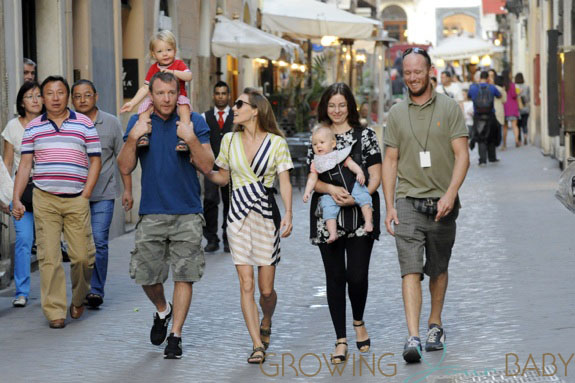 Guy Ritchie, son Rafael, wife Jacqui and daughter stroll in Rome