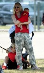 Gwen Stefani at football practice in LA with her son Apollo Rossdale