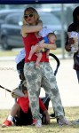 Gwen Stefani at football practice with her son Apollo Rossdale