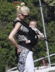Gwen Stefani at the beach  with son Apollo