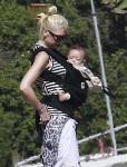 Gwen Stefani at the beach  with son Apollo