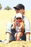 Gwen Stefani hangs out at the beach in Malibu with son Apollo