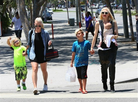 Gwen Stefani out in Santa Monica with her boys Apollo, Zuma and Kingston