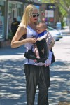 Gwen Stefani out in Santa Monica with her son Apollo - Ergo Baby Carrier