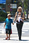 Gwen Stefani out in Santa Monica with her sons Apollo & Kingston