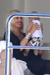 Gwen Stefani with son Apollo on a yacht in St