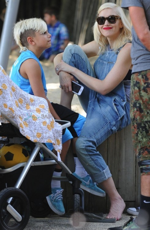 Gwen Stefani with son Kingston at the park in London