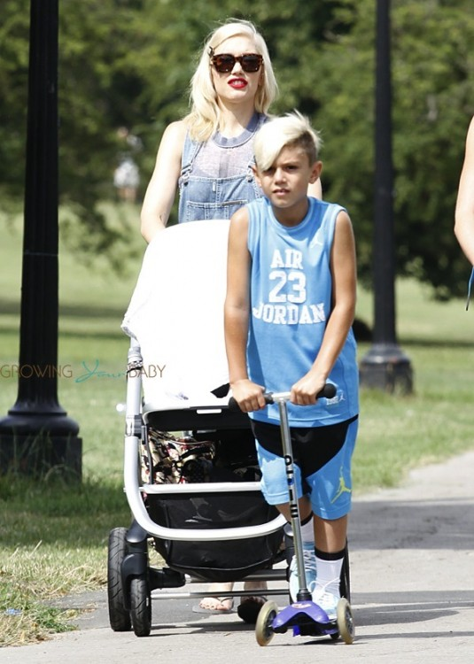 Gwen Stefani with sons Apollo and Kingston at the park in London