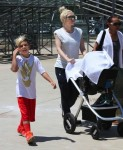 Gwen Stefani with sons Kingston and Apollo at Zuma'a soccer practice