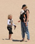 Gwen Stefani with sons Zuma and Apollo at the beach