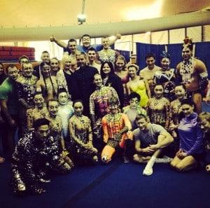 Gwen Stefani with the cast of Totem, Santa Monica