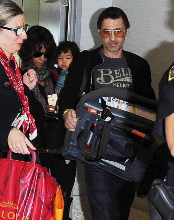 Halle Berry and Olivier Martinez Make their way through LAX with her kids Maceo & Nahla