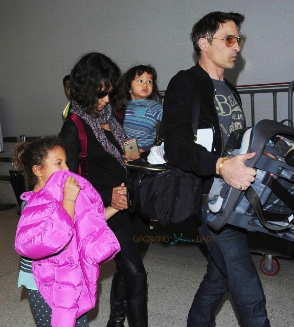 Halle Berry and Olivier Martinez Make their way through LAX with her kids Maceo and Nahla
