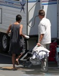 Halle Berry on the set of Extant with son Maceo
