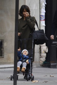 Halle Berry takes Maceo for a stroll in Paris