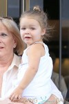 Harper Beckham seen with grandparents Jacqueline Doreen and Anthony Adams at the SoHo Trump in New York City