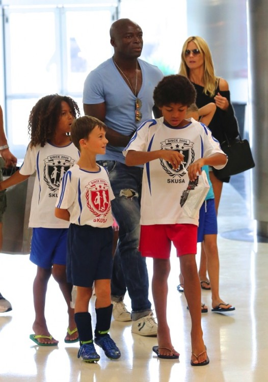 Heidi Klum and Seal out for lunch with their boys Johan and Henry