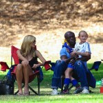 Heidi Klum and ex husband Seal with daughter Leni Samuel at soccer game