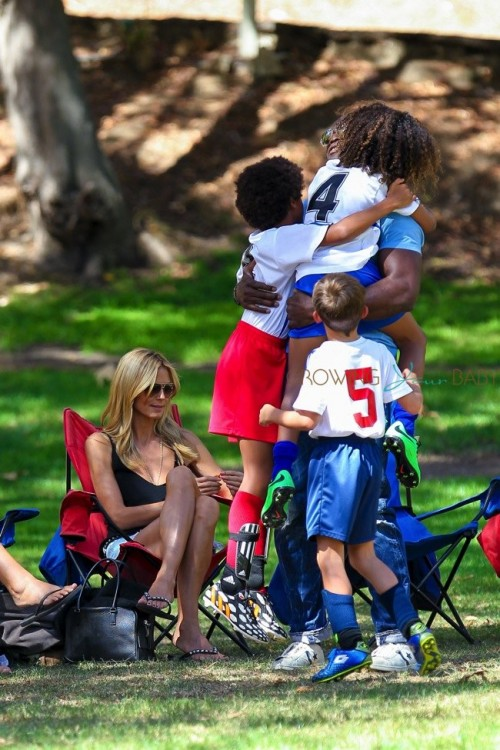 Heidi Klum and ex husband Seal with their kids at soccer game