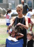 Heidi Klum with daughter Lou at the Soccer field