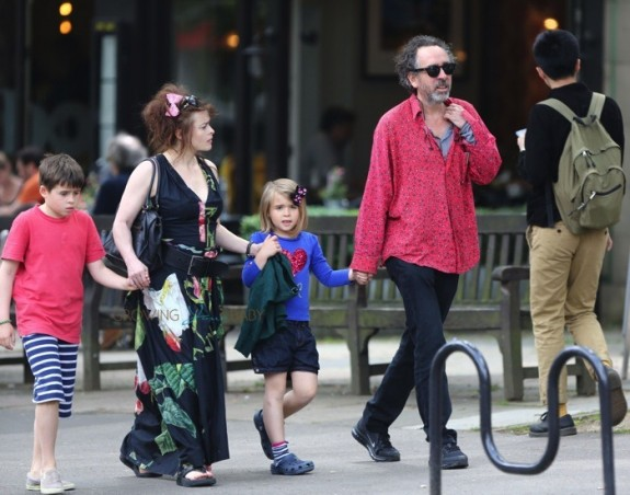Helena Bonham Carter and husband Tim Burton out in Hampstead with their two children, Billy and Nell