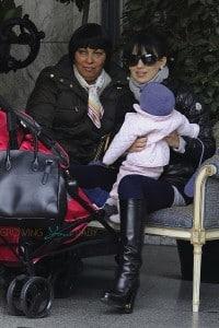 Hilaria Baldwin and daughter Carmen in Madrid