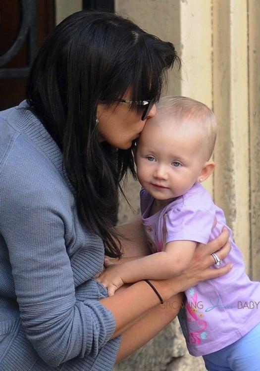 Hilaria Baldwin with daughter Carmen in Madrid