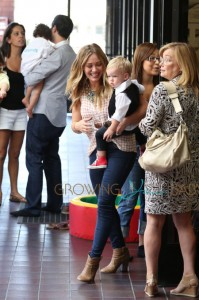 Hilary Duff and husband Mike Comrie head out of their son Lucas' graduation from his Baby & Me class in Los Angeles