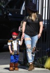 Hilary Duff with son Luca Comrie, who dressed up as a pirate for Church Halloween event