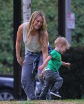 Hilary Duff with son Luca out at the park in LA