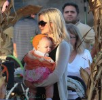 Holly Madison with her daughter Rainbow at Mr. Bones Pumpkin Patch