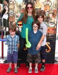 Holly Marie Combs with kids Finley, Kelley and Riley Donoho at At Boxtrolls Premiere