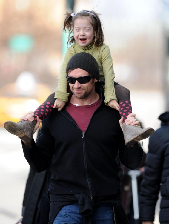 Hugh Jackman, his wife Deborra Lee Furness, and their children Ava Eliot and Oscar Maximillian enjoy a beautiful day in the park in New York City